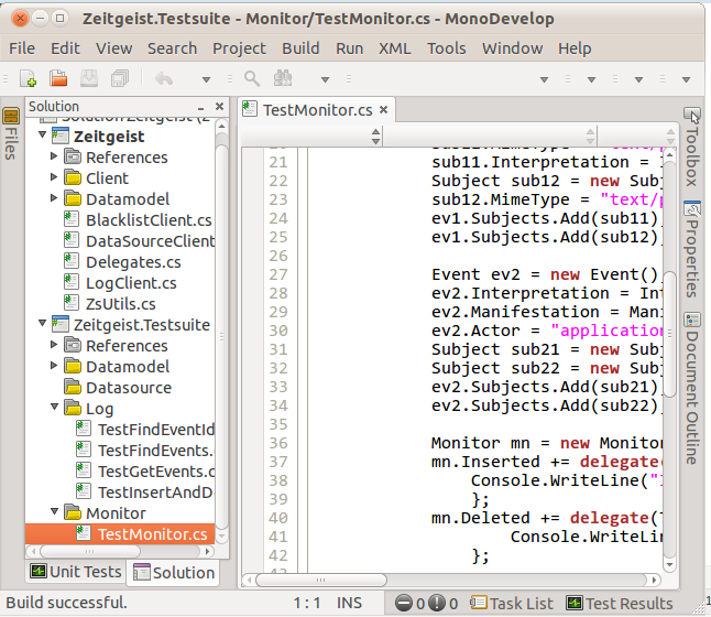 Open Zeitgeist.sln in MonoDevelop 2.4